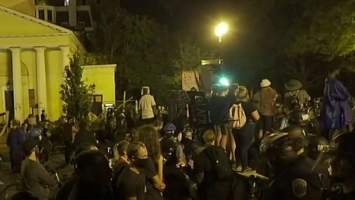 Trump orders arrests for monument vandalism as protesters try to topple Andrew Jackson statue near White House