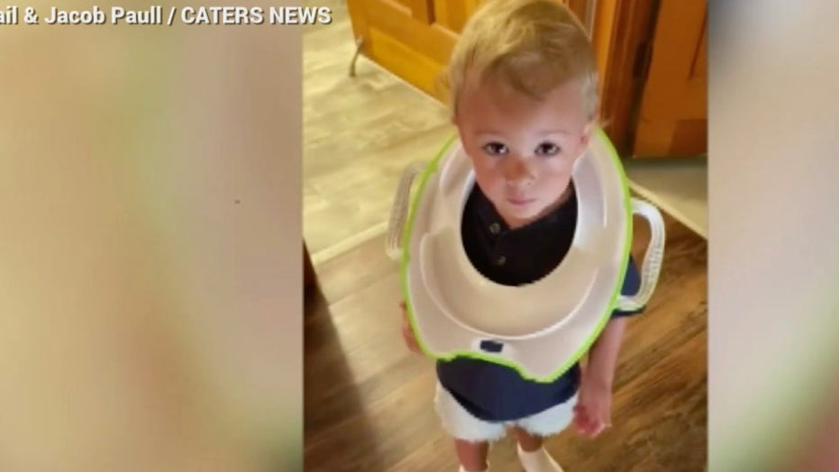 Toddler gets his head stuck in toilet seat, dad has to saw him out