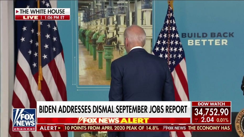 Biden addresses dismal jobs report, leaves without taking questions