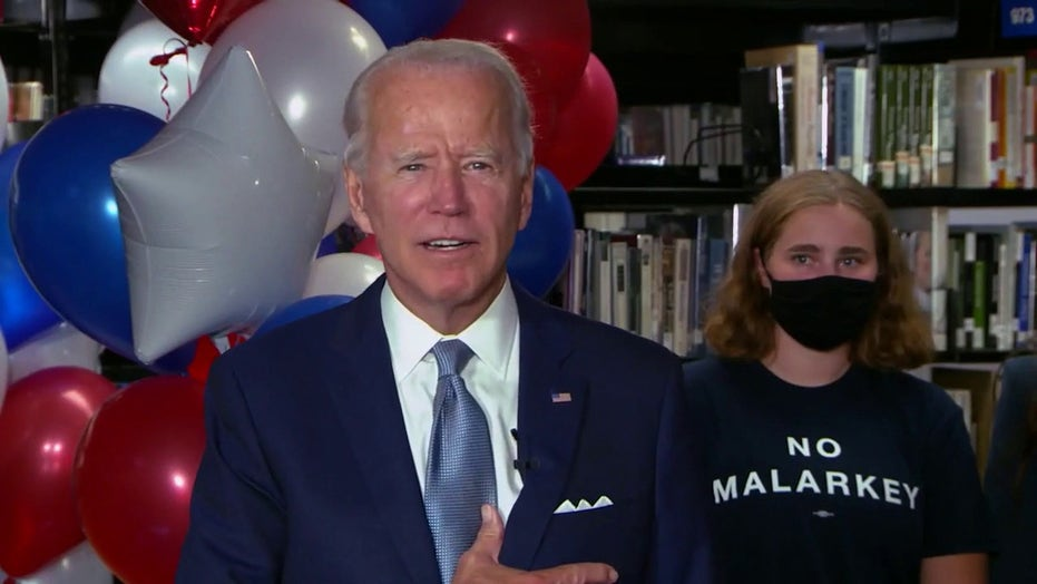 Joe Biden speaks after securing the 2020 Democratic presidential nomination