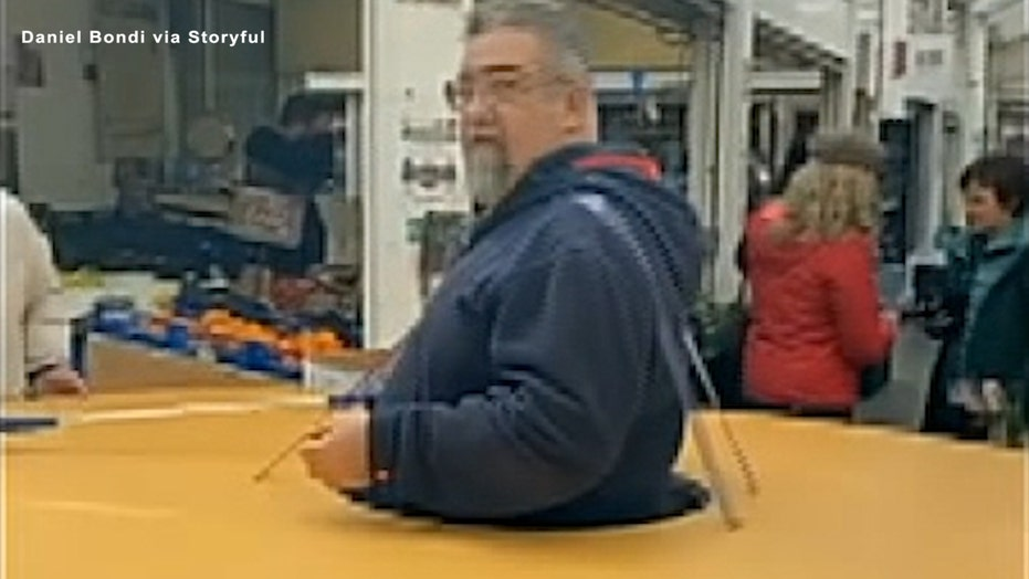 Man in Italy wears social-distancing 'doughnut'