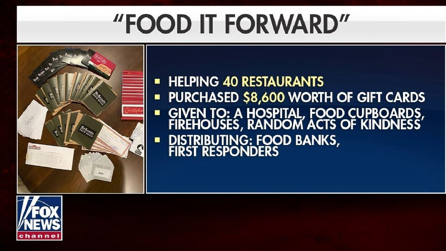 Food It Forward supporting local restaurants by buying gift cards and giving them to frontline workers