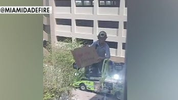 Florida fire crew visits sick firefighter at hospital
