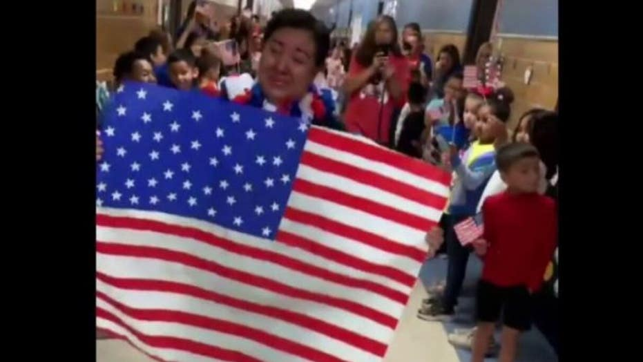 Texas elementary school surprises cafeteria worker after she becomes a U.S. citizen