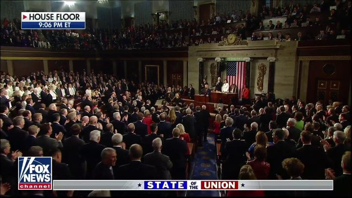 House Chamber chants 'Four More Years' as President Trump takes the dais