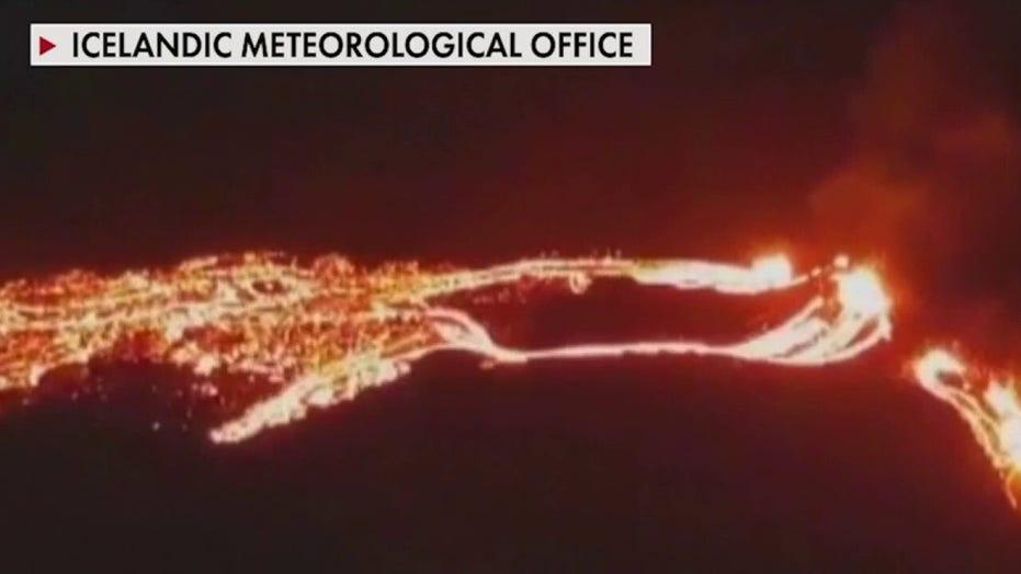 Volcano erupts in Iceland