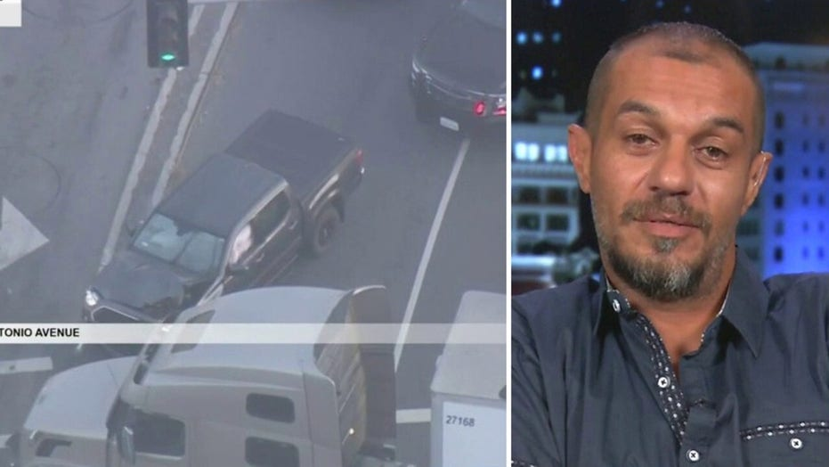 California truck driver stops high-speed police chase with murder suspect