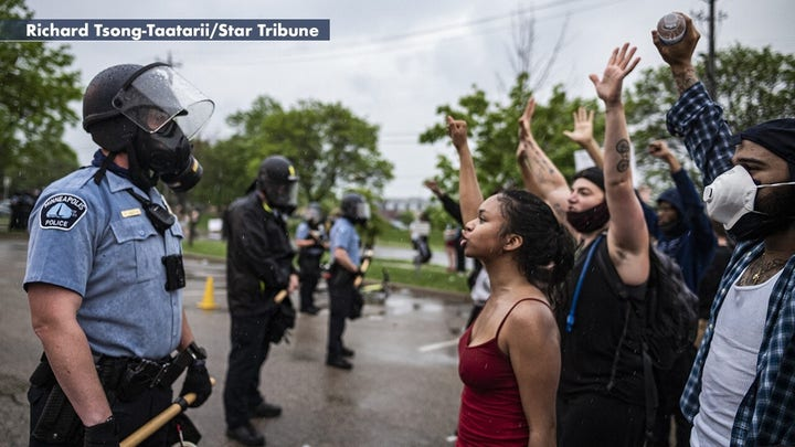 Protesters clash with Minneapolis police after George Floyd's death