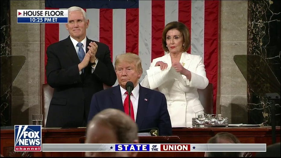 Image result for Pelosi tearing up state of the union address fox news