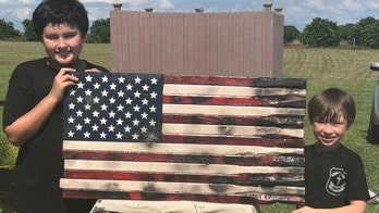 Father and sons build American flags for veterans and police officers