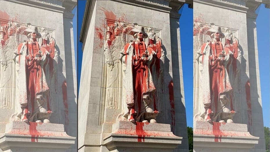 Trump says government is 'tracking down the two anarchist' who vandalized a Washington statue