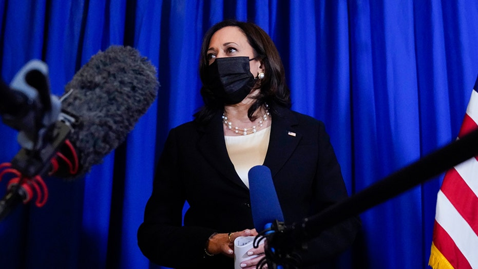 Vice President Kamala Harris takes part in media availability session in Mexico City
