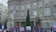 Protestors march on Cuban embassy accusing Biden of supporting communism