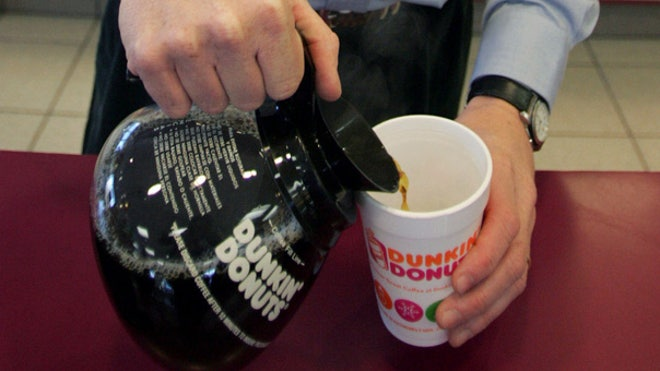 Pouring Dunkin Donuts