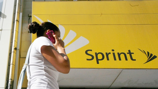 Woman on Phone Outside Sprint Phone