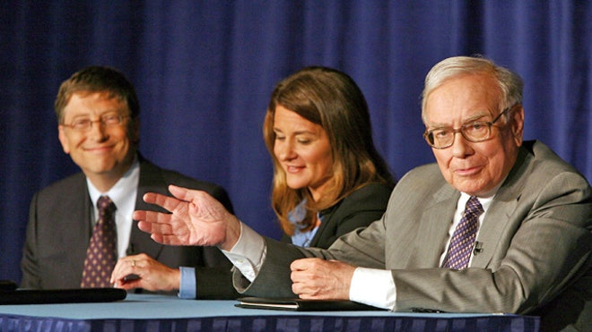 Bill and Melinda Gates With Warren Buffett at Charity Event