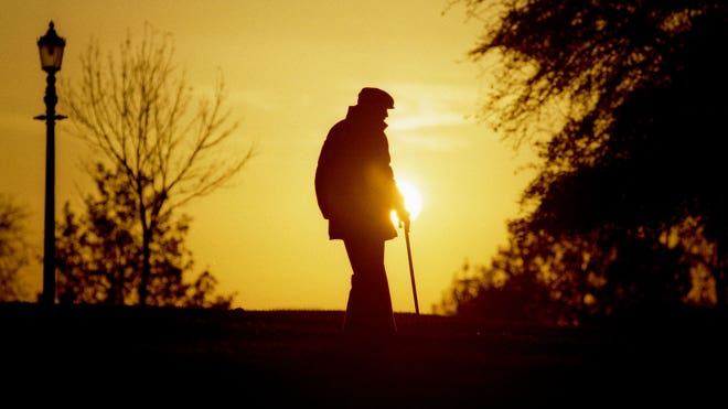 Elderly Man Walks Retirement