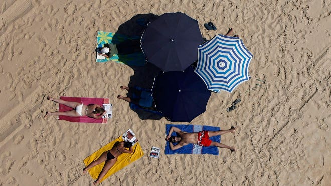 Vacation Beach Umbrella Sunbathing Tan Travel