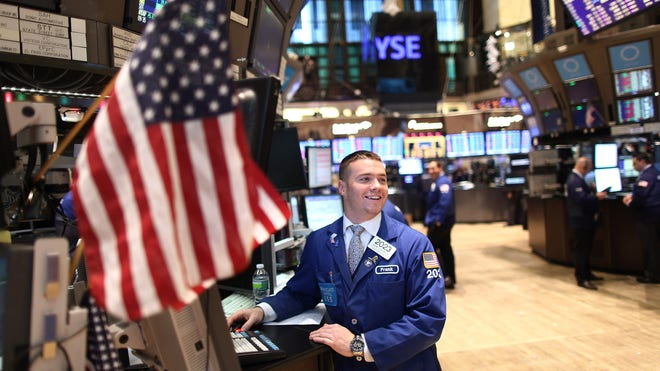 NYSE Trader Happy w Flag