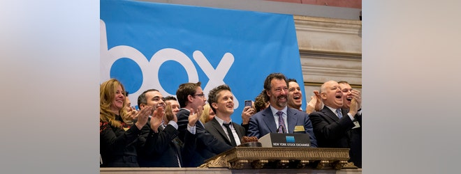 Cloud service company Box soared % in its long-anticipated public debut on Friday. After pricing shares at $, the stock traded as high as $ mid-day and closed at $..
