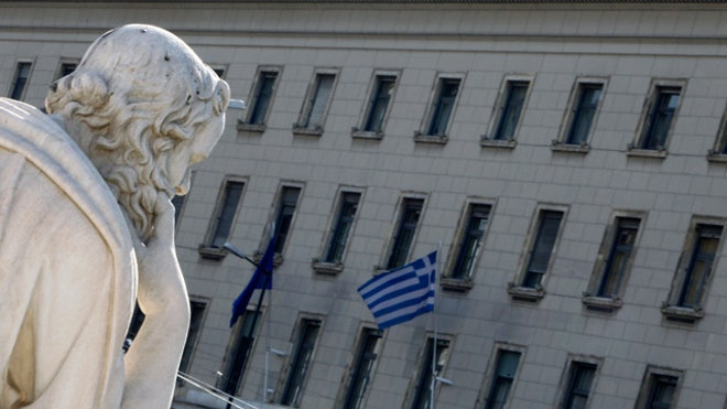 Bank of Greece Statue Greek Flag Building FBN