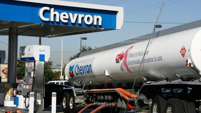 Chevron Gas Station Refilling Truck