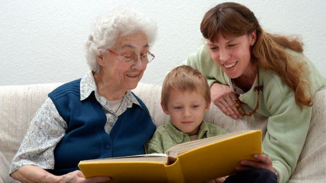 Child-Reading-Grandmother-Mother