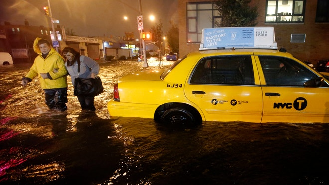 hurricane sandy taxi reuters