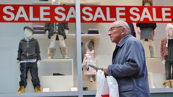 Elderly Man Shops Retail Sale