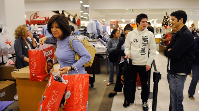 Shoppers at Macy's Store During Christmas