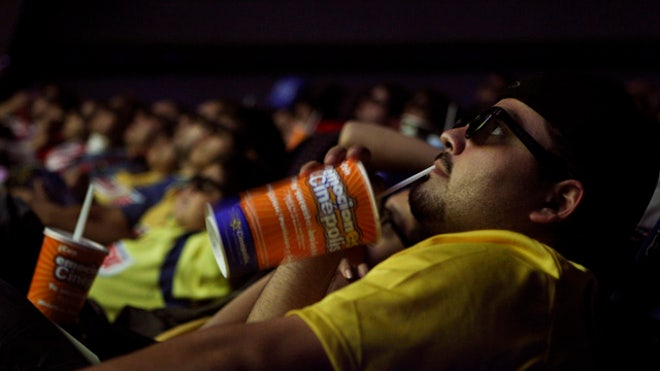 drinking soda at movies