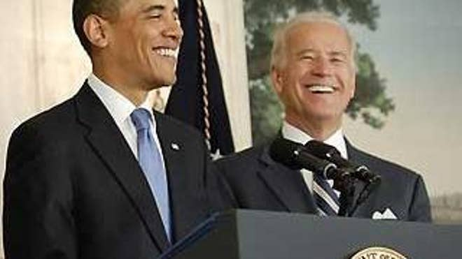 April 29: President Obama and Vice President Biden share the podium at the White House (Reuters).