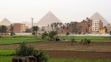 Seven men have been arrested in Egypt after digging up an ancient temple under a house in Giza, just outside Cairo.