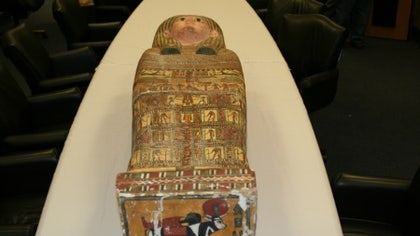 Some ancient Egyptian artifacts have returned to their rightful home. The U.S. Immigration and Customs Enforcement (ICE) recently returned dozens of illegally smuggled artifacts to the Egyptian government. The items – including a Greco-Roman style Egyptian sarcophagus – were officially returned during am April  ceremony at the National Geographic Society in Washington, D.C., according to an ICE press release.