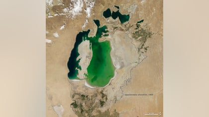 """A series of NASA satellite images has revealed the shocking decline of water levels in the Aral Sea, a massive environmental disaster dubbed """"the quiet Chernobyl."""""""