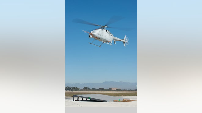 The latest version of Navy's Fire Scout reconnaissance drone is being readied for actual takeoff and landing from the deck of a Navy ship at sea, Northrop Grumman announced following recent test takeoffs and landings using a sloped platform at Naval Base Ventura County at Point Mugu, California.