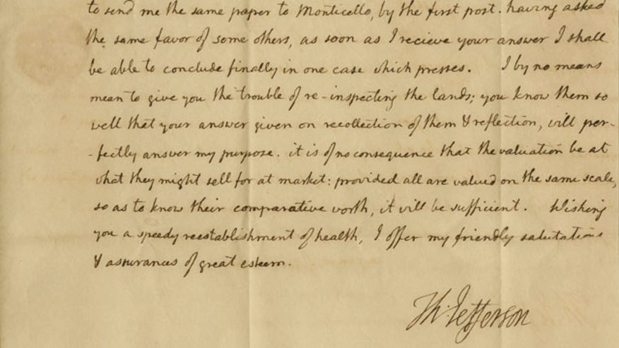 Letter Thomas Jefferson Thomas Jefferson ap