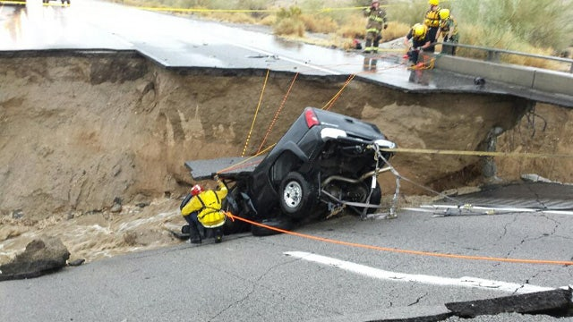 Storms wash away part of Interstate 10 in Southern California