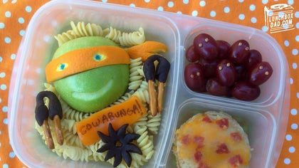 Father creates edible works of art for his kids' lunch boxes.