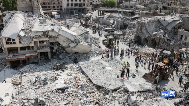 Government air raids in a northwestern town in Syria and a subsequent crash by a Syrian warplane that slammed into a residential area there killed at least  people on Monday, activists said.