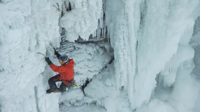Will Gadd and Sarah Hueniken climbed one of North America's largest waterfalls will frozen.
