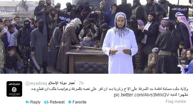 An extremist Syrian group took to Twitter Friday to live-tweet pictures of rebels helping to chop off the hand of an alleged thief.