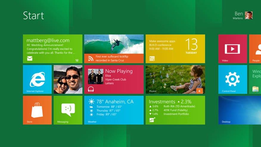Microsoft Windows 8 Homescreen