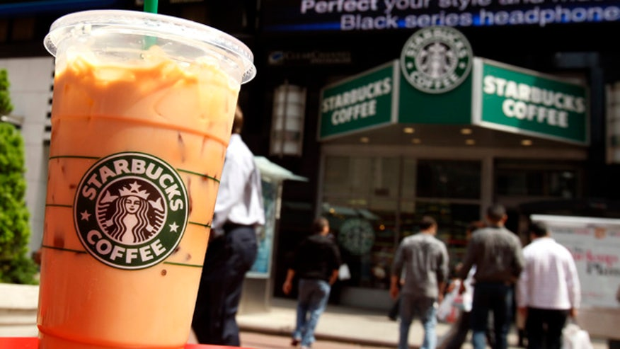 A Starbucks drink is seen on a table in New York's Times Square