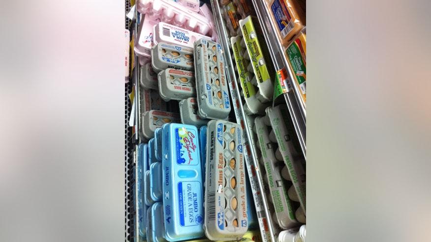 Eggs on Supermarket Shelf