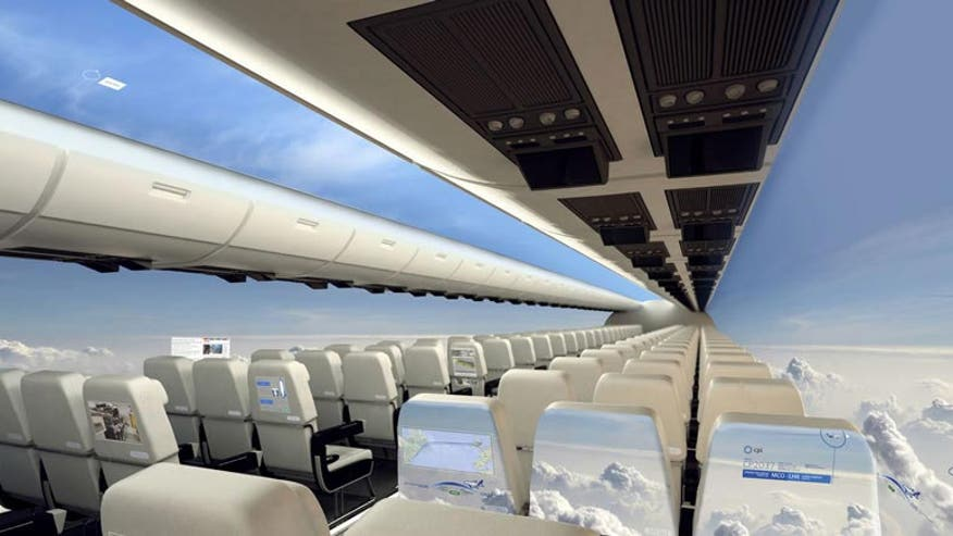 Futuristic windowless airplane lets passengers see all around them