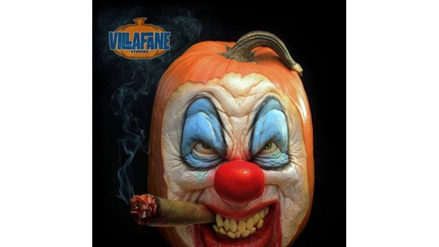 The coolest carved pumpkins you 39 ve ever seen fox news for Clown pumpkin painting