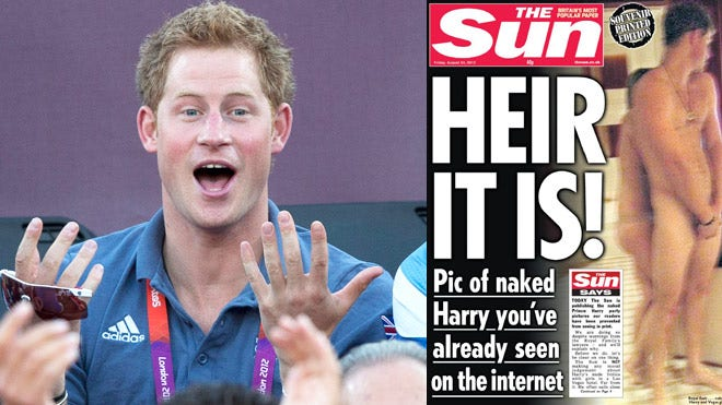 The nude photos of Prince Harry were published in The Sun tabloid,