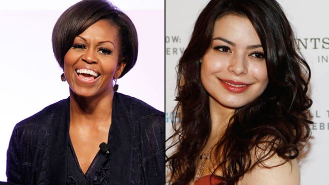 First lady Michelle Obama (left) will guest star on 'iCarly' with Miranda ...