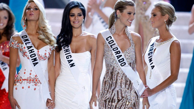 Miss Oklahoma, Miss Michigan, Miss Colorado and Miss Virginia await the ...